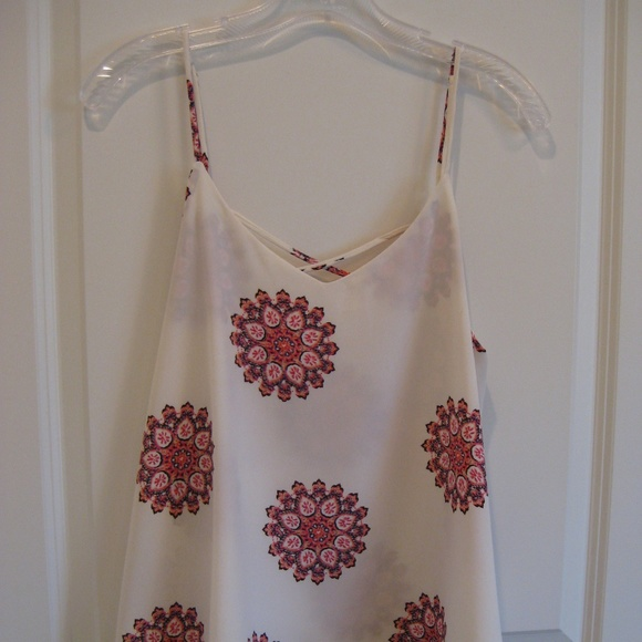 Cover Stitched Tops - Cover Stitched Cream w/Mandala Print Flowy Cami S